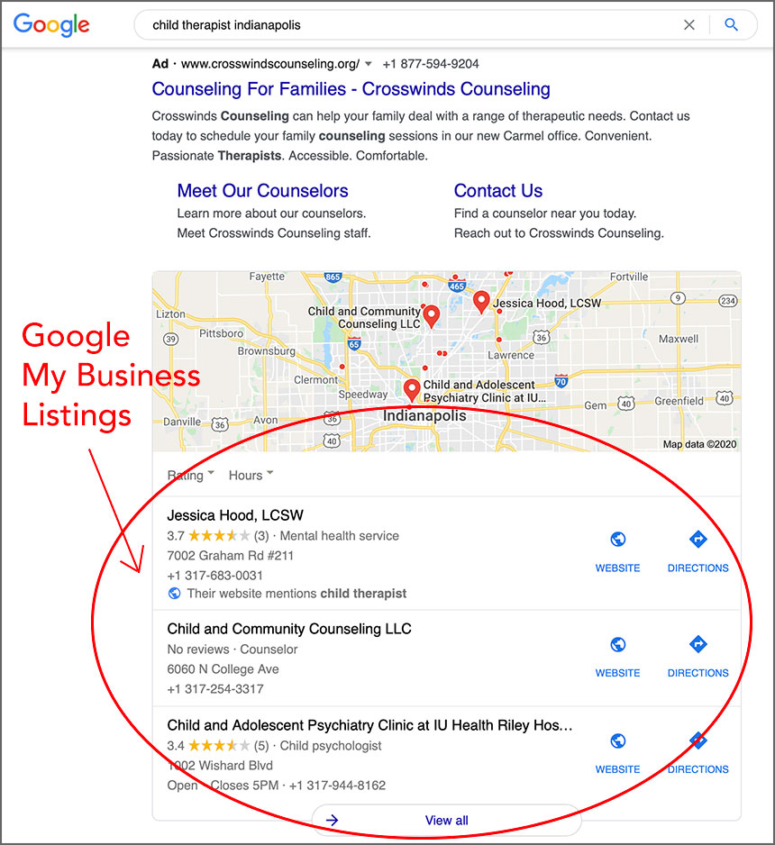 Example of Google My Business Listings for Therapists